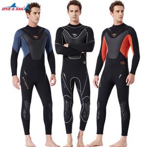 Männer 3MM Neopren Thermal Tauchen Wetsuit hohe elastische Surfen Spear Wetsuits One Piece Ganzkörper-Sporttauchen Jumpsuit