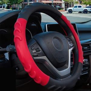 vermelho Esporte cobertura de volante para a mulher Non-Slip couro PU Bump design respirável