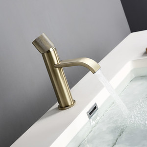 Brushed Gold Water Faucet Cold Waterfall Modern Style Wholesale Patent Design Single Hole Lavatory Bathroom Sink Tap