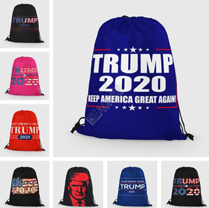 Donald Trump 2020 İpli Çanta Unisex Protable Sırt Çantası Büyük Cüzdan Cüzdanlar Depolama Totes Spor Seyahat Torba 35 * 42cm D91704 Paketleri