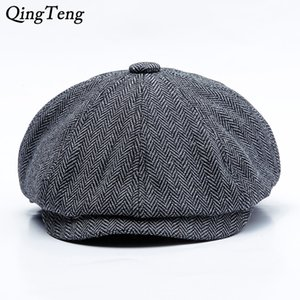 Herringbone Octagon Peaky Blinders Homens Boinas Hat Autumn New Vintage Cap Mulheres casual chapéu da abóbora Gatsby planas Beret Chapéus