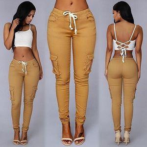 New Women Fashion Khaki Denim Pencil Pants Hight Waist Drawstring Trousers Casual Elastic Sport Cotton Leggings