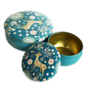 Tinplate candle jar candy gift box empty wedding retro small deer tin can drum shape metal cute round creative storage