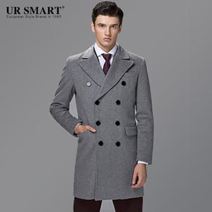 style britannique URSMART hommes d'affaires double boutonnage dans le manteau de laine long manteau gris