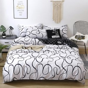 White Geometric Print Duvet Blanket Cover Set Flat Sheet Pillow Cases 3 4Pcs Bedding set