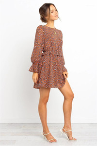 Printed Bell Sleeve Dresses New Arrival Womens Clothing Women Dresses Fashion O Neck Digital