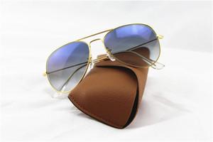 1 stücke Hohe Qualität Mode Pilot Sonnenbrille Sonnenbrille Für Männer Frauen Gradient Legierung Metall Gold Blaue Glaslinse 58mm 62mm mit Kasten Fall