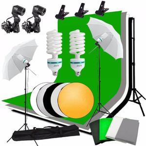 Abeststudio photo Kit d'éclairage 2x Ampoule, 4xBackdrops, 2x parapluie stand lumière, 2 * + arrière-plan stand 5 en 1 panneau réflecteur