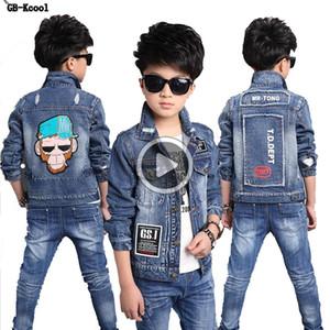 GB-Kcool Moda Çocuk Denim Ceket Erkek Kot Dış Giyim Çocuk Çizgi Uzun Kollu Big Boys Öğrenciler için Coats Tops