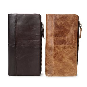 2018 Vintage Genuine Leather Men Wallets 100% Crazy Horse Cowhide Leather Men Purse With Removable Money bag Card ID Holders