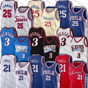 Filadelfia76ersAllen Iverson Jersey 3 jerseys Joel 21 Embiid Jersey Ben 25 Simmons jerseys Julius Erving 6 Jersey