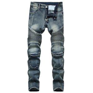 Unique Mens Straight Slim Fit Jeans Fashion Distressed Panelled Biker Denim Pants Big Size Motocycle Hip Hop Trousers For Male JB6508