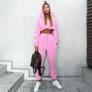 Carino Sexy Cool Girl Fleece Imposta Donna 2 pezzi tuta Outfits manica lunga con cappuccio solido brevi Sport Top elastiche set in corso