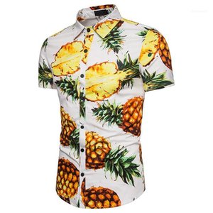Mens Single Breasted Tops Mens Pineapple Print Shirts Turn Down Collar Casual Tees Short Sleeve Contrast Color