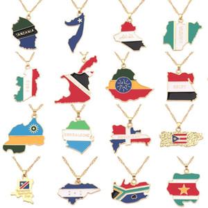 National Flag Map-Anhänger-Halskette Jamaika Nordamerika Südafrika Nigeria Ägypten Fashion Charm Schmuck Geschenke für Frauen Kinder