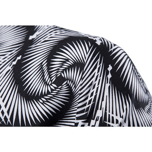 Men's Casual Vortex Slim Fit Long-Sleeved Formal Dress Shirts Men's Black White Printed Shirts Male Social Chemise Tops Shirts 200925
