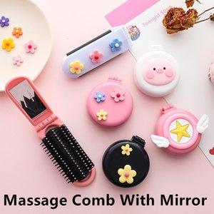 Massage-Kamm mit Spiegel Haar Locken Friseur Magie Perm Welle Gerade Schönheit Kamm-Haar-Styling-Tools Regenbogen Volume Pinsel