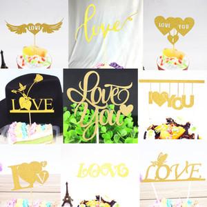Glitter Love you noiva do coração para ser bolo Topper Sr Sra Souvenirs festa de aniversário do casamento Decoração Wrapper DIY Baby Shower