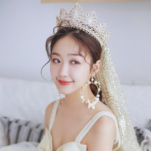 Himstory Queen Crown Tiara Fashion Zircon Retro Champagne Gold Crown Veil Earring Bridal Hair Jewelry Banquet Party Accessories