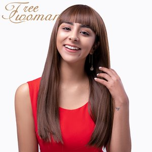 FREEWOMAN Long Straight Hair with Bangs Brown Synthetic Heat Resistant Female Wigs for White  Black Women Cosplay Daily Wigs