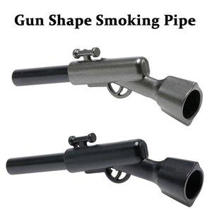 Forma pistola fumante tubi tubo di metallo del tabacco 18 * 110 millimetri per pelli secche Herb Nero Argento in lega di zinco Materiale DHE1476