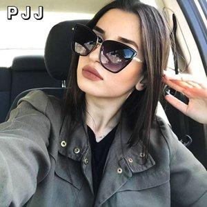 2020 nuovo progettista di marca Cateye occhiali da sole donne Vintage Metal i vetri per le donne Specchio Retro lunette de Soleil Femme UV400