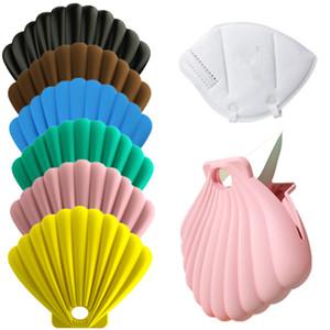 Tragbare Tasche für Gesichtsmaske weicher Silikon-Staubdichtes Aufbewahrungskoffer Container Mundmasken im Freien Halten Taschen seashell