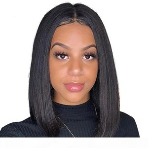 Lace Front Bob Wig Brazilian Straight Human Hair Short Bob Wigs For Black Women Nature Color Full Lace wig 9A Grade