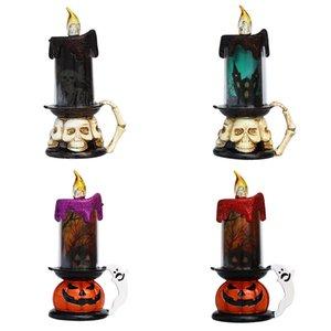 Cadılar Bayramı LED Mum Kafatası Kabak Cadılar Bayramı Partisi Atmosfer Dekorasyon Gece Parlayan Lambası Plastik Pil Alevsiz Mumlar İşletilen