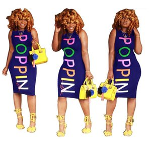 Club Party Sleeveless Dresses POPPIN Women Bodycon Dresses Colorful Letter Printed Skinny Dresses Designer Fashion Sexy