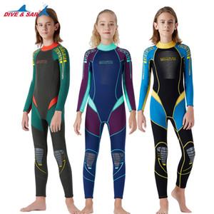 Erkekler Kızlar 2.5mm Tek Parça Tüm Vücut Neopren Uzun Kollu Swimsuit, Scuba Diving için UV Koruma SICAK TUTMA için DIVESAIL Çocuk Dalgıç