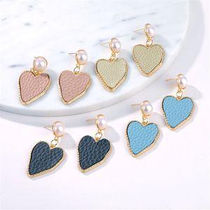 IParam 2019 Pendientes de gota de la manera colgante del corazón de Corea mujeres de cuero 4 del color perla regalos de joyas de amor Bijoux
