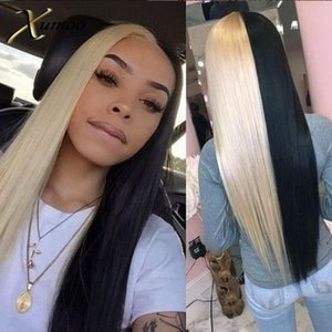 XUMOO Pre-plucked Remy Hair Straight Half Blonde Half Black Wig Human Hair 360 Lace Frontal Wig 360 Lace Wigs For Black Women