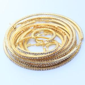Moda Büyük Hoop Küpe İçin Kadınlar Yuvarlak Klasik Kristal Tam Yapay elmas Basit Kore Stil Charm Büyük Vintage Parti Hediye Takı