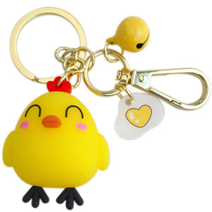 Prety Rubber chicken Cartoon Doll Keychain Alloy Bells Leather Strap Key Chains For Car Bag Pendant Keyring Kawaii Gift