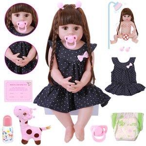 NEW 56см Reborn младенца малышей куклы Реалистичные Очаровательные Babies DOLL Очень мягкая всего тела Силиконовые куклы игрушки ванны Bonecas Xmas Gift 201021