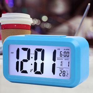 Smart Sensor Night Light Digital Alarm Clock Silent Desk Table Clock With Temperature Thermometer Calendar LX3664