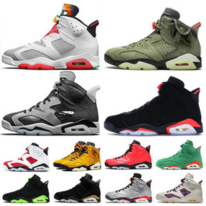 Nike Air Jordan 6 Retro 6 Travis Scott 6s 2020 Jumpman Chaussures Femmes Hommes Basketball Hare Jordan Retro Tech Chrome Quai 54 Formateurs Chaussures de sport