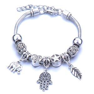 Full alloy hollowed-out pattern lovers girls can open bead bracelet silver lobster clasp animal bead bracelet