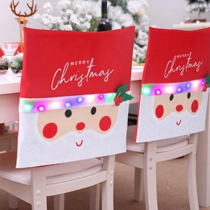 Santa Claus Back Chair Cover with Lights for Dining Room Creative Holiday Christmas Decoration