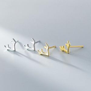 Pendientes Tiny Elk Animal color oro plata de ley 925 ciervos cornamenta del cuerno Pendientes de la Mujer de regalo de Navidad Niños