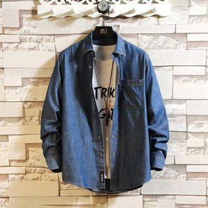 New Arrival Men's Jeans Shirts Solid Long Sleeve Jeans Jacket High Quality Wash Denim Cowboy Shirts Men Casual