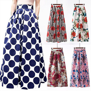 S 3xl Autumn Print Flora Maxi Skirt Women 2020 Spring Long Pleated Skirts For Women Plus Size Fashion Plus Size High Waist