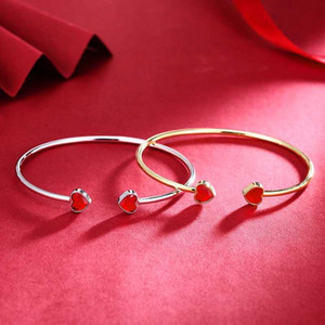 Cdyle Fashion Jewelry Red Love Heart Crystal Cuff Bracelet 925 Sterling Silver Bangles for Women Valentine's Day Present