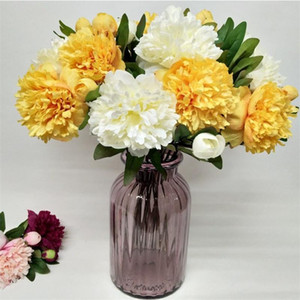 """Sahte Kısa Melaleuca Şakayık (2 kafaları / adet) Düğün Ev Dekoratif Yapay Çiçekler için 21,26"""" Uzunluk Simülasyon Peonia Stem"""