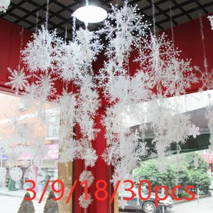 3 9 18 30pcs Snowflakes Tree Decoration White Plastic 11cm Artificial Snow Christmas Home New Year Party Decor V