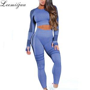 Leemiijuu Kadın Yoga Seti Spor Spor Suits Spor Bezi Yoga Uzun Kollu Gömlek Yüksek Bel Koşu Tayt Egzersiz Pantolon Y200328