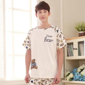 Мужские летние новых милых корейских 2020 хлопок с коротким рукавом шорты мужская молодежь XL Pajamas Pajama Sets Mens Pajama Men Sleekwear