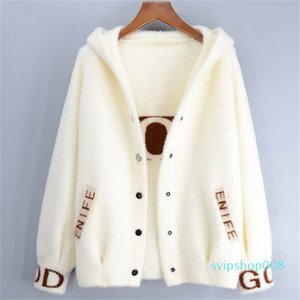 2020 Autumn Women New Fashion Faux Mink Cashmere Sweaters Cardigans Female Hooded Single Breasted Knitwear Knitted Coat XA75 Y200910
