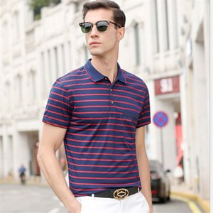 2020 summer new men's short-sleeved striped thin Polo shirt casual middle-aged and elderly dad wear lapel T-shirt Size S-2XL